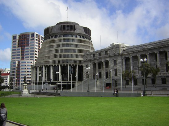 The Bowen House Beehive is part of New Zealand's parliamentary buildings. (Photo: Midnighttonight)