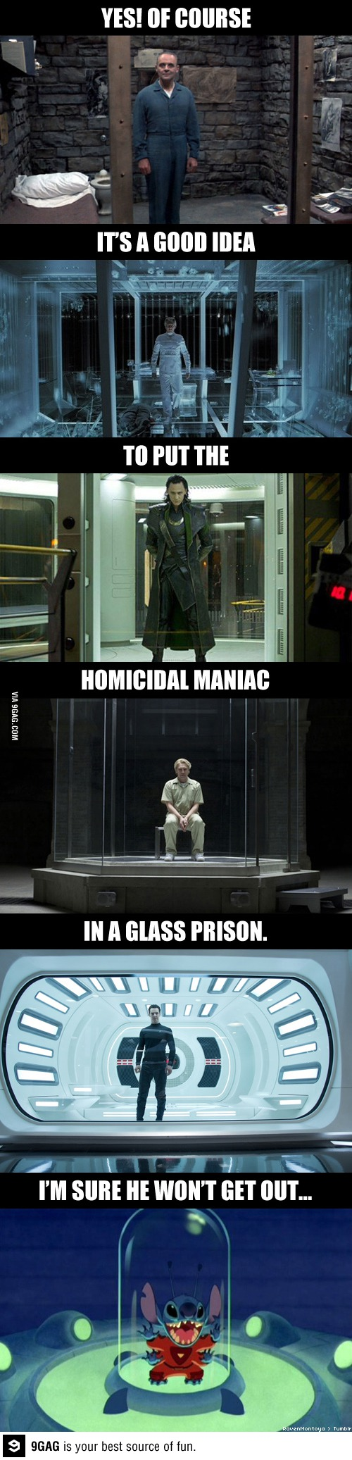 Glass prisons are becoming a staple with captured villains. (Photo: thewarguy627/9GAG)