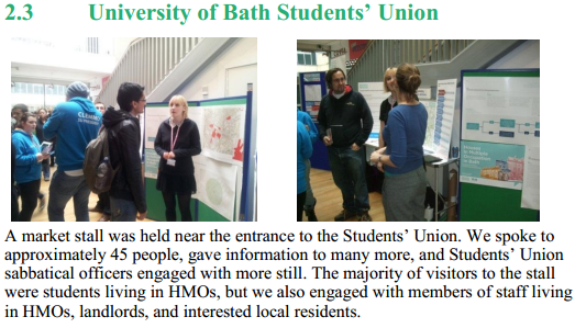 B&NES Council held a stool on the Supplementary Planning Document and HMO Licensing at the University of Bath Students' Union. (Photo: B&NES Council)