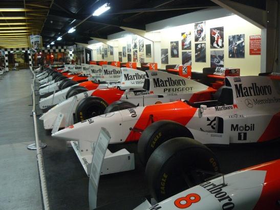 A row of McLaren F1 cars through the years. (Photo: al_green)
