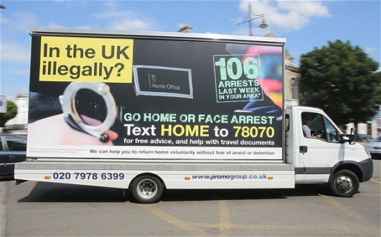 The immigration vans have caused a furore, particularly among civil rights groups. (Photo: Telegraph)