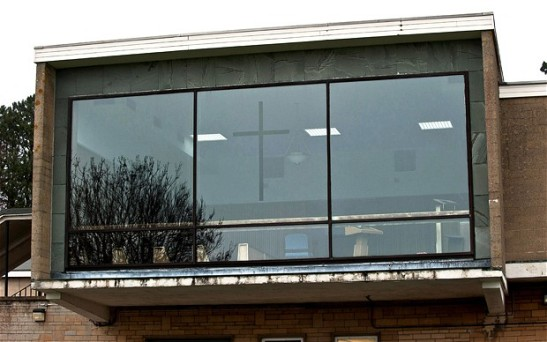 The cross-etched pane was removed as part of a general refurbishment. (Photo: SWNS)