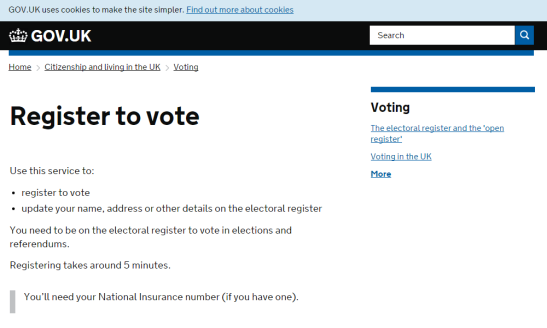 Registering to vote can be done quickly and easily through GOV.UK. (Source: GOV.UK)