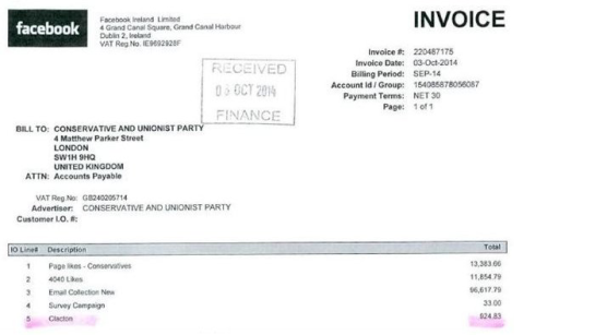 Local campaigns are also prominent in the Conservative and Union Party's invoice. (Source: BBC)