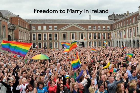 DUBLIN, IRELAND - MAY 23:  People celebrate a landslide victory of a Yes vote after a referendum on same sex marriage was won by popular ballot vote by a margin of around two-to-one at Dublin Castle on May 23, 2015 in Dublin, Ireland. Voters in the Republic of Ireland chose in favour of amending the country's constitution to allow gay and lesbian couples to marry, the first country in the world to legalise same-sex marriage through a popular vote.  (Photo by Clodagh Kilcoyne/Getty Images)