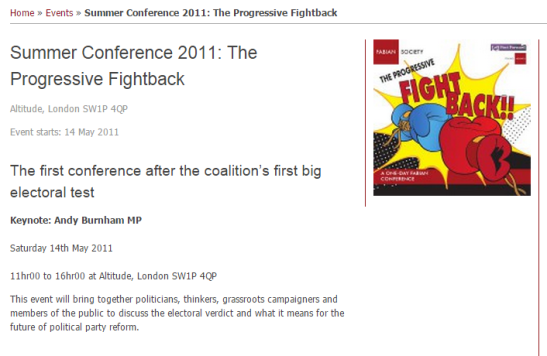 Apparently, Mr Burnham does go to a conference. (Source: The Fabian Society)