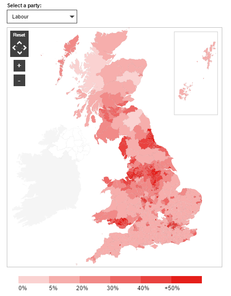 This is Labour's vote share by constituency. (Source: BBC)