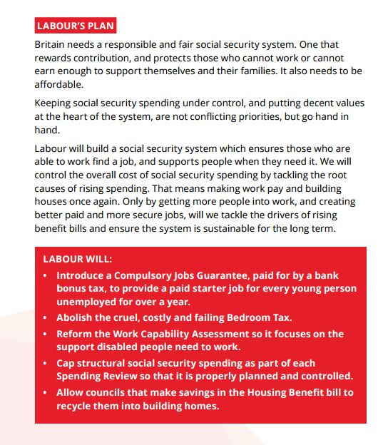 The promise of a 'jobs guarantee' was a key promise in the 2015 Labour manifesto. (Source: Labour)
