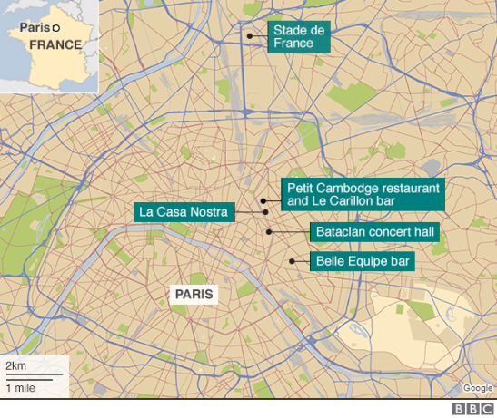 The attacks began just after 9pm. (Source: BBC)